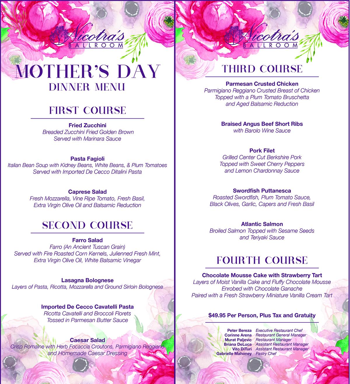 Nicotra's Ballroom Mother's Day Dinner Menu