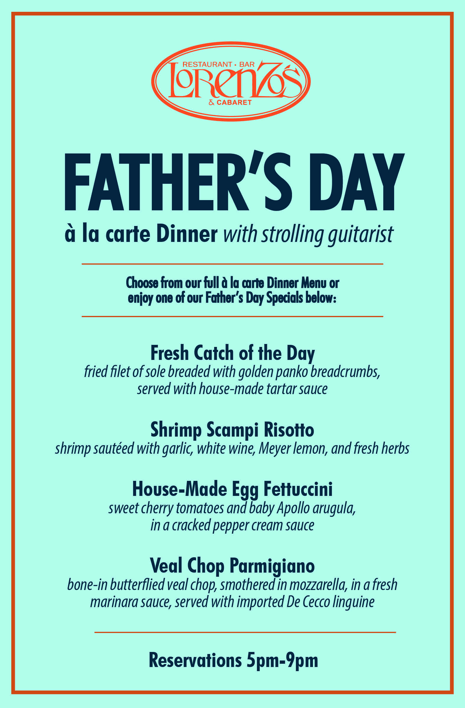 Father's Day Dinner Menu