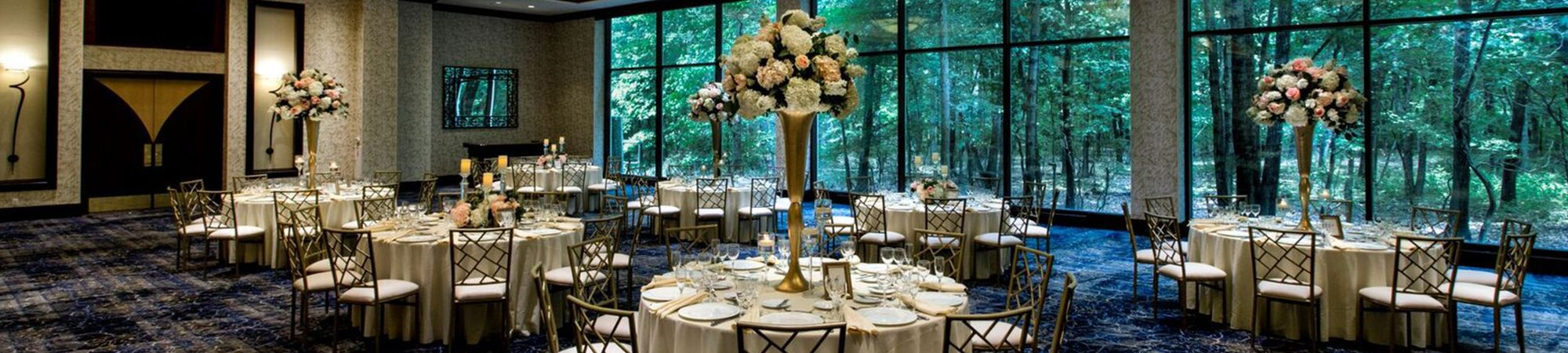 photo of Dining hall with tables and flowers